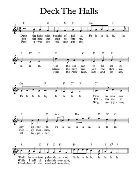 printable lyrics for deck the halls free lead sheet deck the halls michael kravchuk