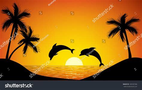 Sprei Sea Dolphine dolphin jumping sunset stock vector 100187396