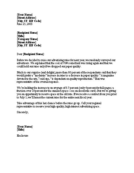 business letter template price increase notice of rate increase business letters