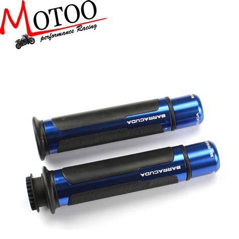 Grey Ltd Barracuda Grips Best Quality 1 1 Replica motoo barracuda 7 8 cnc aluminum motorcycle handle bar caps handlebar grips fit for honda r6
