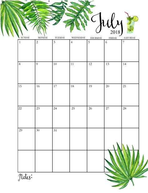 Printable July Calendar 2018
