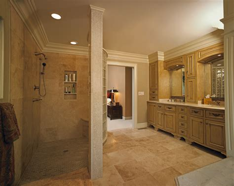 Master Bathroom With Walk In Shower Custom Vanity And Walk In Shower