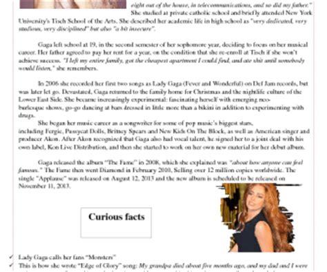lady gaga biography facts lady gaga biography colorful worksheet