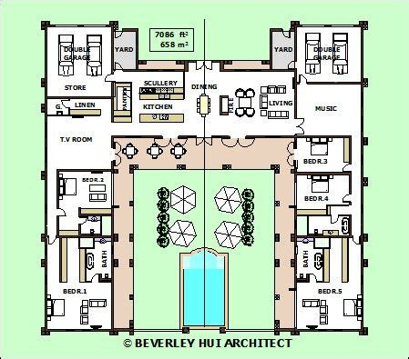 H Shaped House Plans With Pool In The Middle Pg3 House Plans With Courtyard In Middle