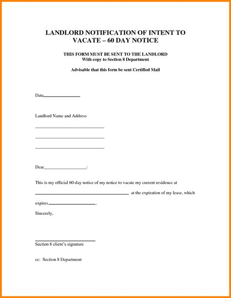 day notice letter landlord template letter flat