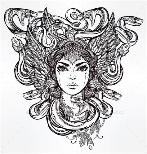 medusa clipart mythological medusa portriat illustration by itskatjas