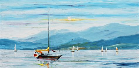 boat transport europe to australia blue calm palette knife oil painting on canvas