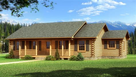1 story log home plans ranch log home floor plans with bay minette plans information southland log homes