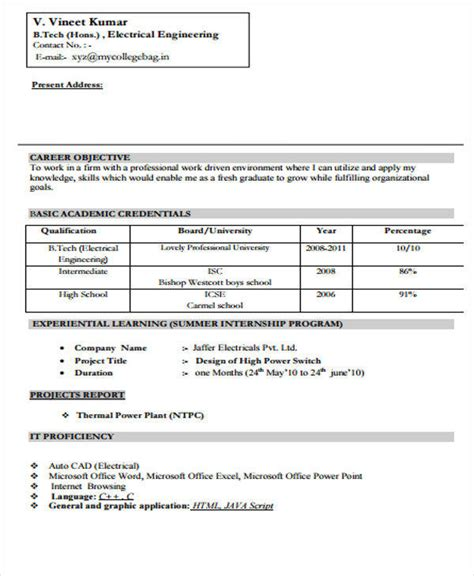 sle resume format for electrical engineer fresher 40 fresher resume exles