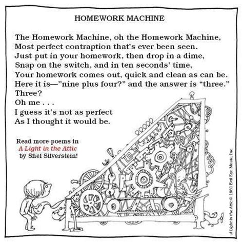 Shel Silverstein Homework by Quot The Homework Machine Quot By Shel Silverstein From A Light