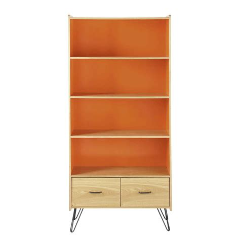 wooden vintage bookcase in orange w 85cm twist maisons