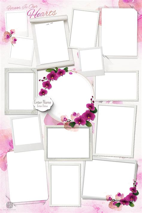 Memorial Photo Collage Design Template Orchid Funeral Photo Collage Template