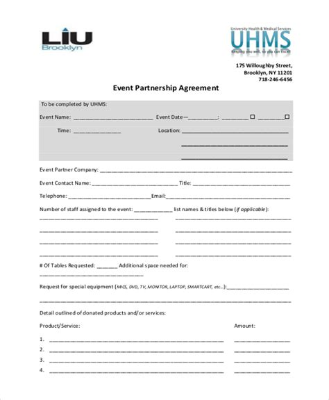 Sle Event Agreement Form 10 Free Documents In Pdf Partnership Agreement Template California
