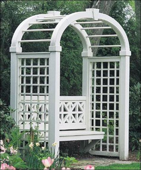 Trellis With Bench Sheffield Arbor With Elliptical Arch Wood Arbors Vinyl