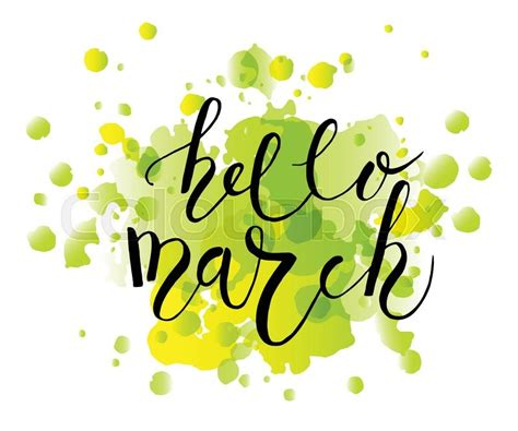 s march post card template sketched hello march text as logotype badge and icon