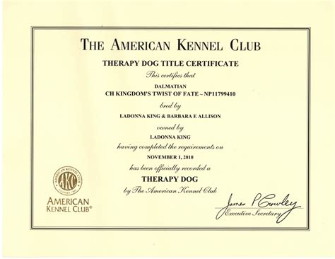 akc therapy service certificate template