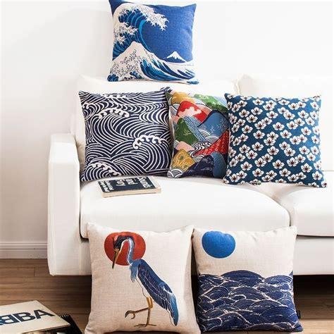Japanese Pillow - japanese ukiyo e retro deco cotton linen throw cushion