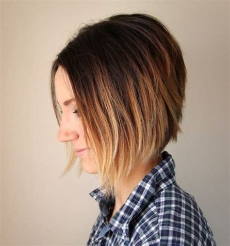 short a line hair short ombre a line bob haircut hairstyles weekly
