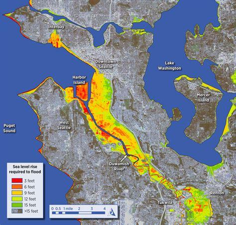 seattle map elevation impacts of sea level rise on seattle wa dan mahr