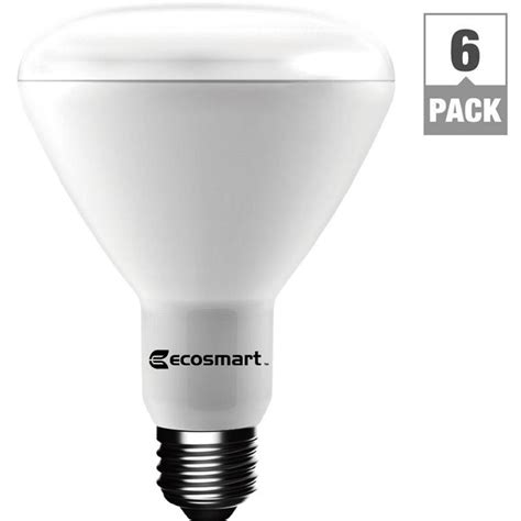 Soft White Led Light Bulbs Ecosmart 65 Watt Equivalent Soft White Br30 Dimmable Led Light Bulb 6 Pack 1003012803 The