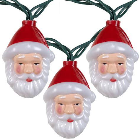 Santa Claus Head Christmas String Lights 10 Lights Santa String Lights