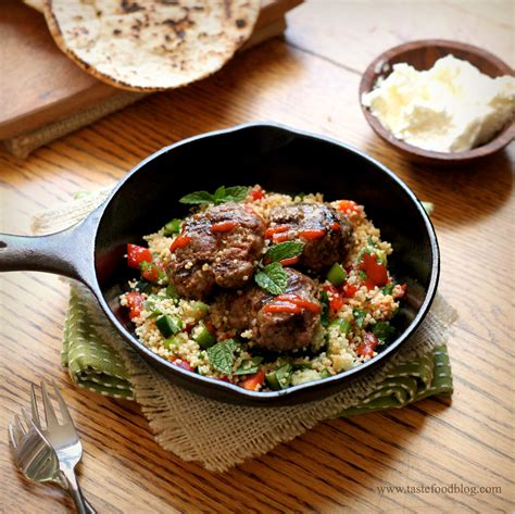 lamb kebabs with couscous and mint yoghurt sauce recipes kefta tastefood