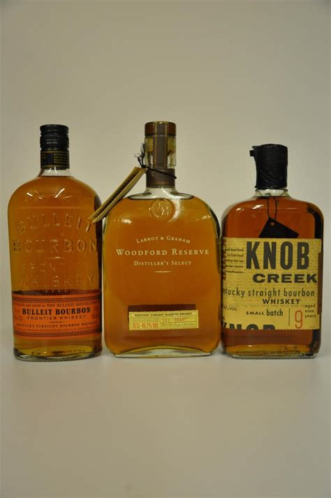 bulleit bourbon knob creek 9 year woodford reserve