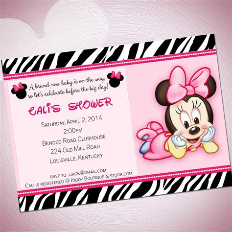 baby minnie mouse baby shower invitations template best