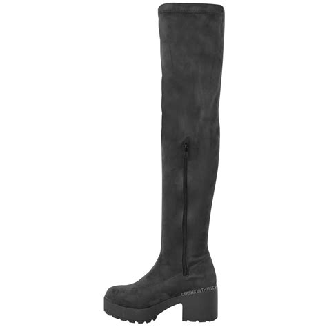 womens thigh high the knee chunky platform