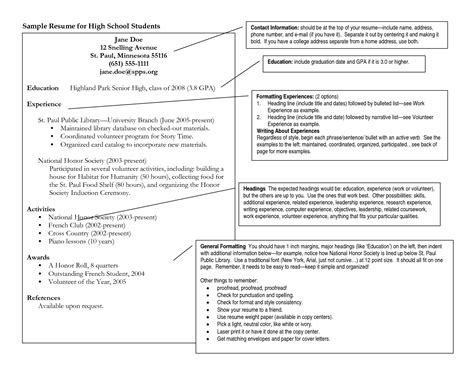 sle resume for high school student applying to college