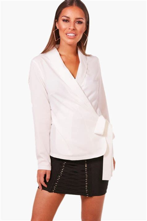 White Wrap Blouse With Tie by Lyst Boohoo Wrap Front Tie Side Blouse In White