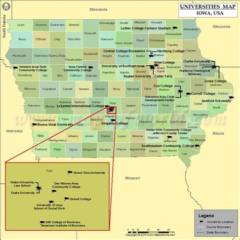 iowa state in usa map list of universities in iowa map of iowa colleges and