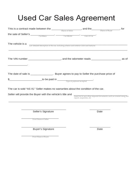 used car purchase agreement template used car sales agreement free
