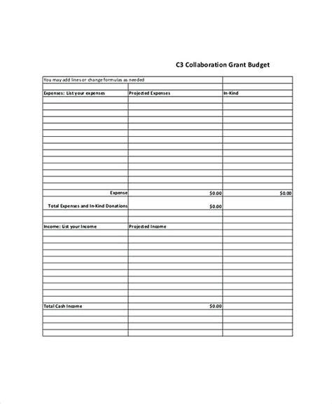Grant Budget Template Grant Budget Template Excel