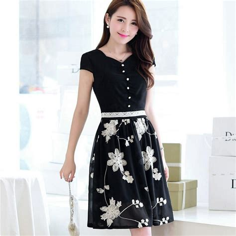 Topi Fashion Kpop Rope Decorated Flower Pattern Design 2 korean dresses new 2014 summer fashion embroidery flower and button chiffon