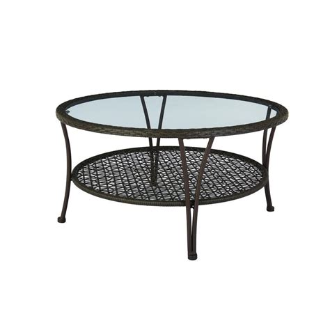 Wicker Patio Table Hton Bay Arthur All Weather Wicker Patio Coffee Table Hd16403 The Home Depot