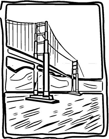 Coloriage   Pont du Golden Gate   Coloriages à imprimer