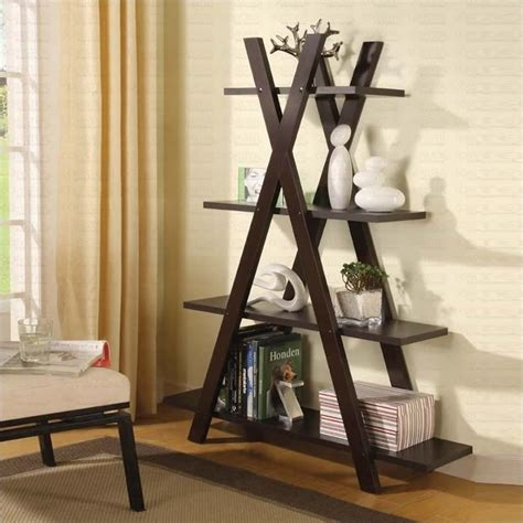coaster 4 shelf tiered x shaped bookcase in cappuccino