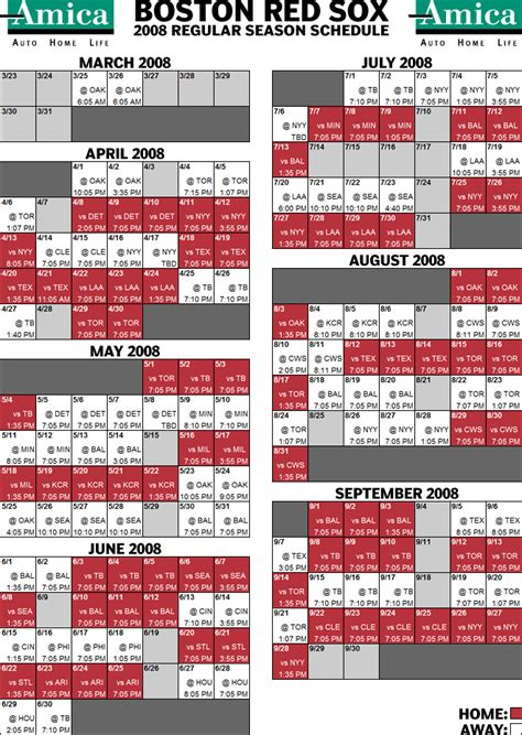 boston sox printable schedule invitations ideas