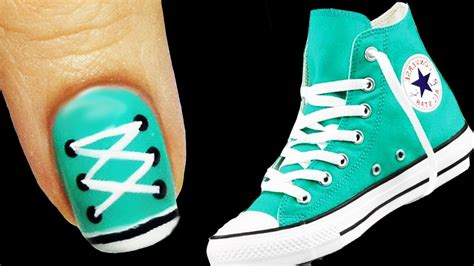 easy nail art converse tutorial converse nail art youtube