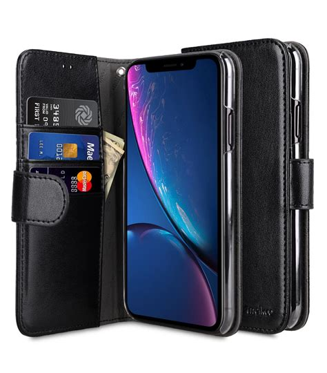 pu leather wallet book clear type for apple iphone xr