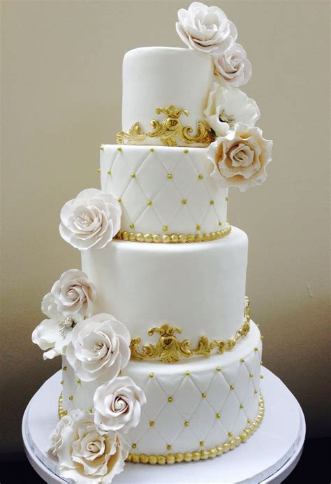 All Wedding Cakes by All White Wedding Cake With Gold Accents Wedding Cakes