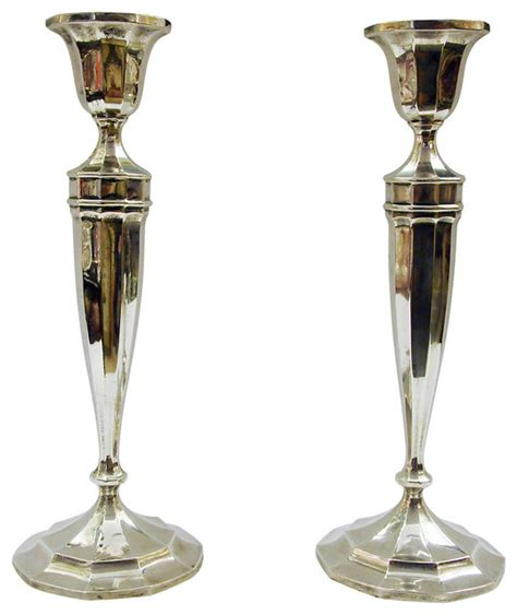Contemporary Candle Holders Sterling Silver Candlesticks Pair Contemporary Candle
