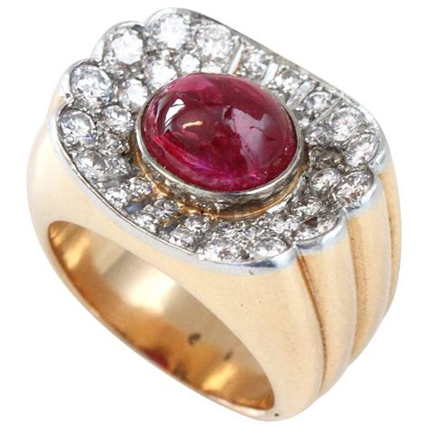 Big Ruby Sy 1 big ruby gold retro ring at 1stdibs