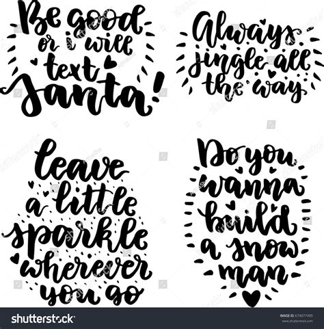 design elements quotes set christmas quotes brush written modern stock vector