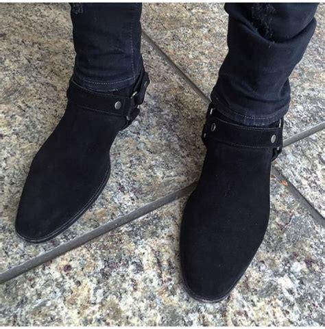 mens black biker boots handmade black suede biker boot ankle boot