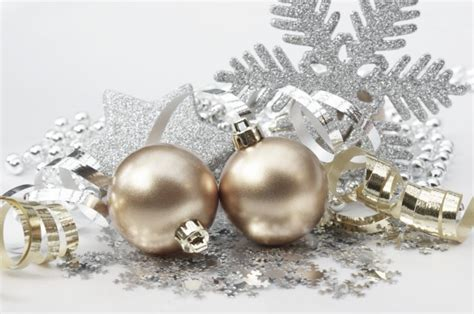 decorations gold and silver background with decorations in gold and silver