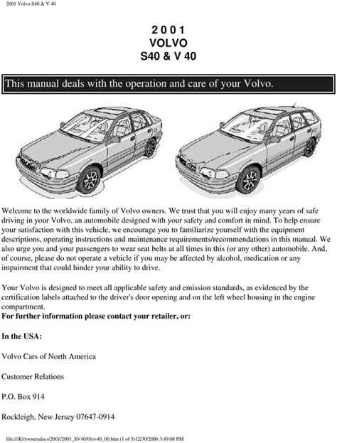 volvo 2001 s40 v40 operators owners user guide manual download ma