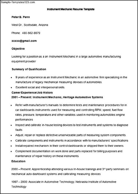 sle auto mechanic resume sle resume for mechanic 28 images mechanic resume moa