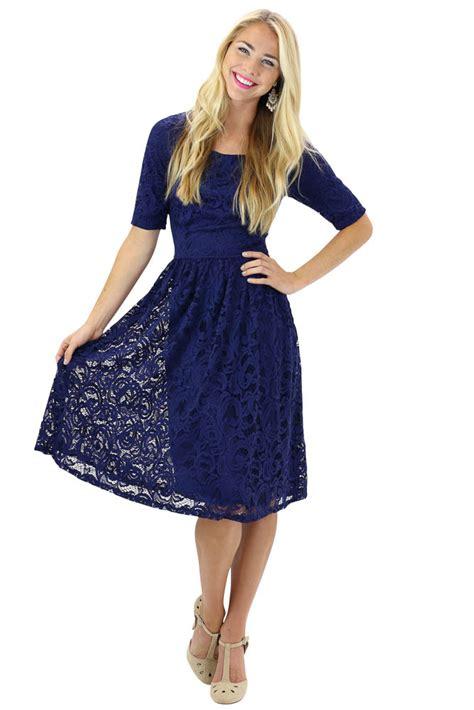 Dres Navy Blue modest dresses lace dress in navy blue